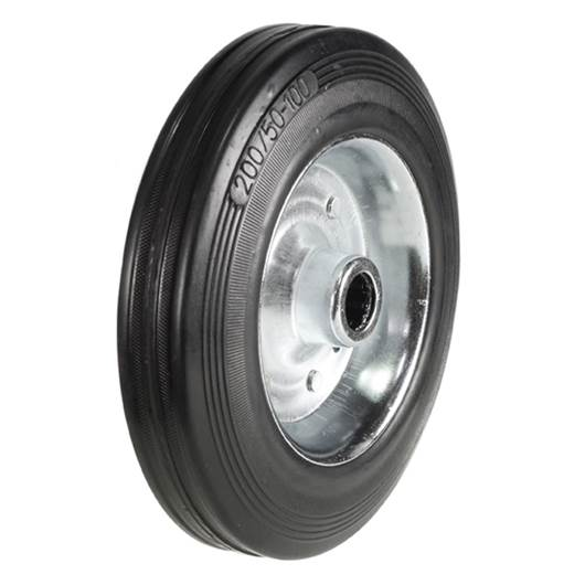 Picture of Black Solid Rubber Tyred Wheels With Metal Centres