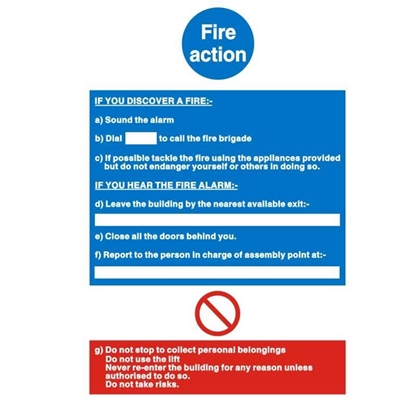 Picture of Fire Action Sign